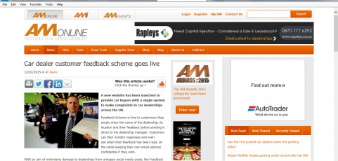 MEDIA COVERAGE | Automotive Management : Car dealer customer feedback scheme goes live