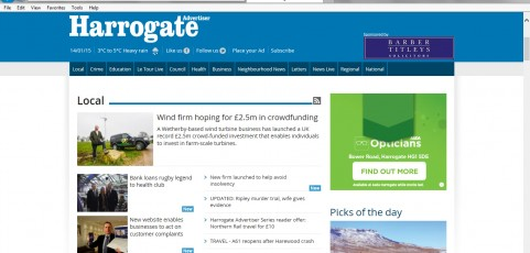MEDIA COVERAGE | Harrogate Advertiser : New website enables businesses to act on customer complaints
