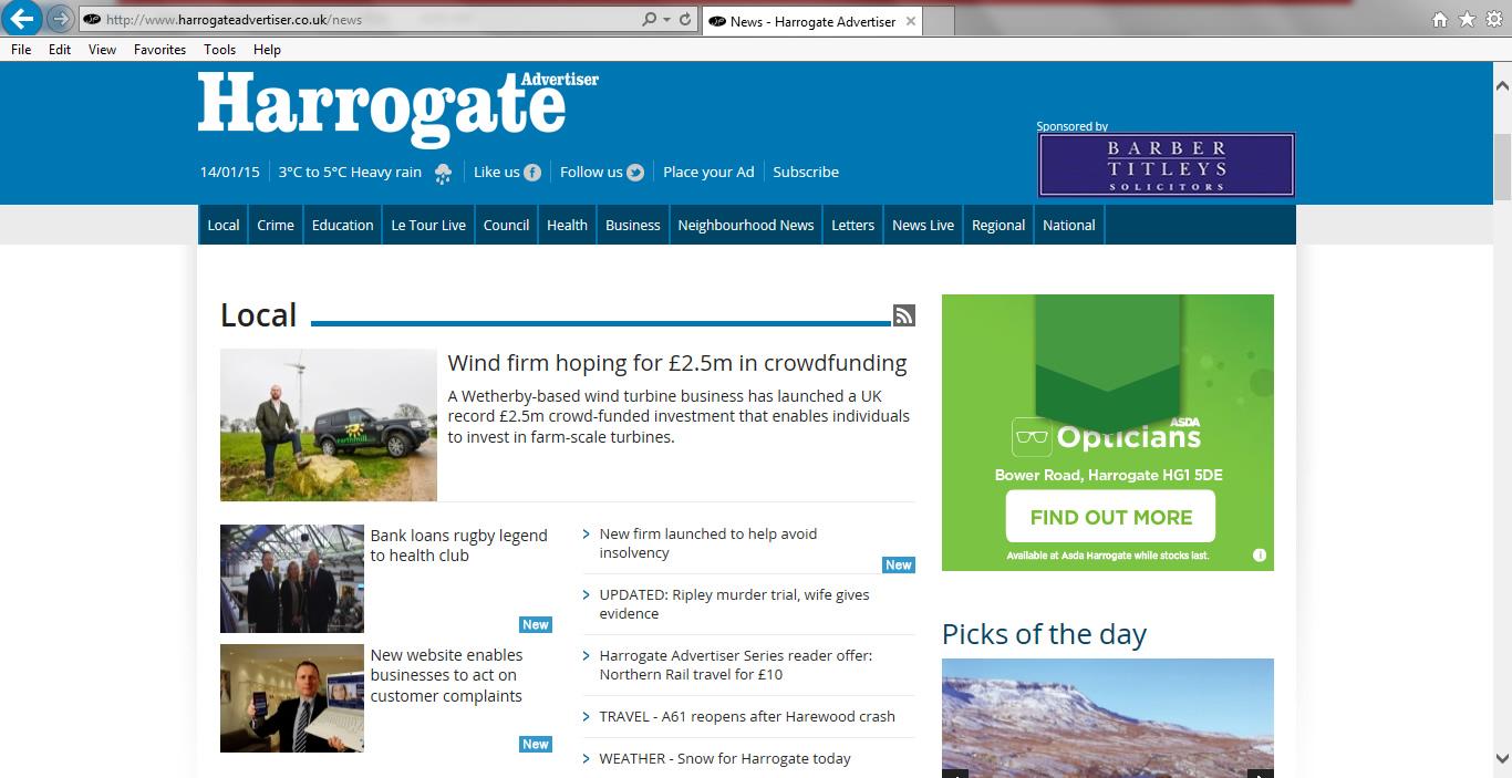 MEDIA COVERAGE   Harrogate Advertiser : New website enables