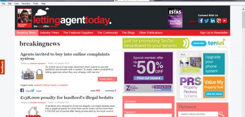 MEDIA COVERAGE | Letting Agents Today : New website enables businesses to act on customer complaints