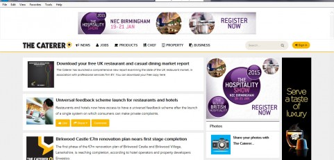 MEDIA COVERAGE | The Caterer : Universal feedback scheme launch for restaurants and hotels