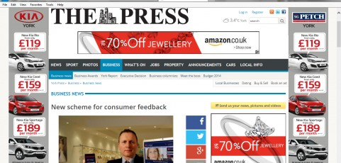 MEDIA COVERAGE | The Press : New scheme for consumer feedback