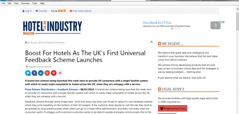 MEDIA COVERAGE | Hotel Industry Magazine : Boost For Hotels As The UK's First Universal Feedback Scheme Launches